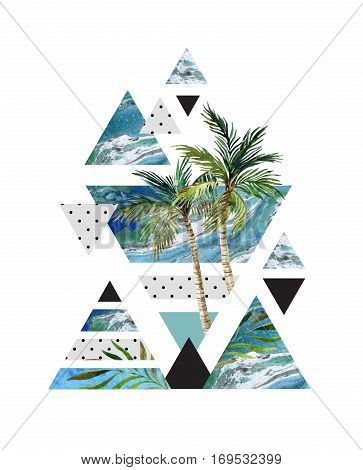 Abstract summer geometric poster design. Triangles with watercolor palm tree leaves marble grunge textures doodles. Water color background in retro vintage 80s or 90s. Hand painted illustration