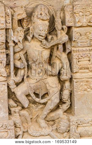 A Carving Of Kali At Abhaneri
