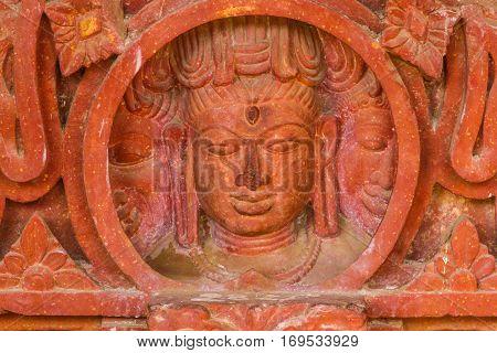 Shiva's Face On A Pillar At Chand Baori