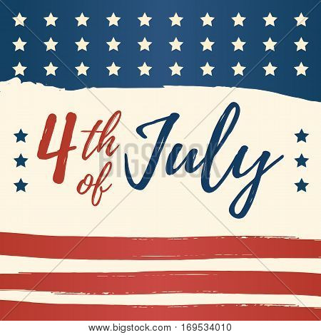 Fourth of July USA Independence Day greeting card. 4 July America celebration wallpaper. Independence national holiday US flag card design. poster