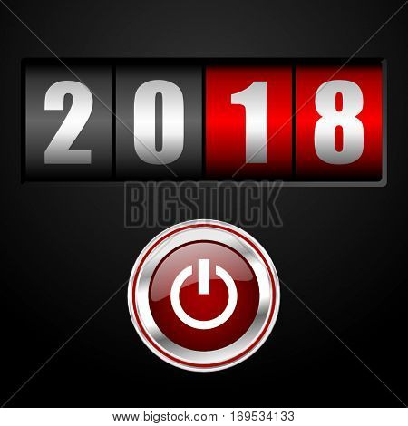 New year 2018 start vector greeting card. Counter and power silver metallic pushbutton illustration on black background in eps 10.
