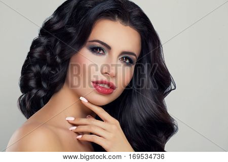 Nice Woman Fashion Model with Makeup and Long Healthy Hairstyle