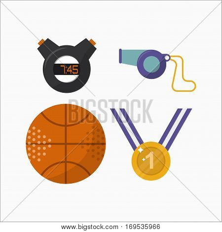 Basketball ball activity leisure and sport symbol. Team game athletic equipment. Competition sphere play flat vector illustration. Teamwork gold medal dribbling professional tool.