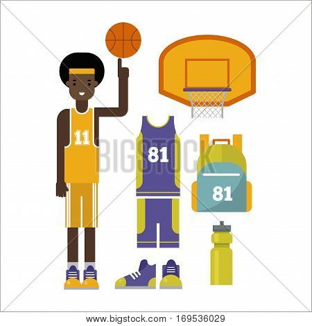 Simple basketball vector elements professional. Game competition ball team recreation, running shoes. Athletic court champion concept equipment.