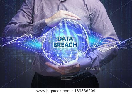 Business, Technology, Internet And Network Concept. Young Businessman Shows The Word: Data Breach