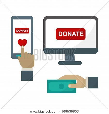 Computer donate monitor icon vector. Internet technology business monitor display. Desktop device blank communication. Digital network telecommunication.