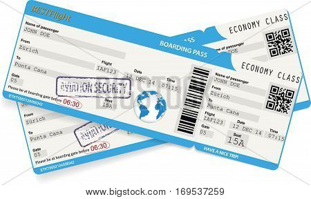 Vector illustration of an airlane boarding pass ticket for traveling by plane