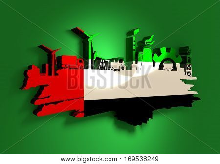 Energy and Power icons set and grunge brush stroke. Energy generation and heavy industry relative image. Agriculture and transportation. Flag of the United Arab Emirates. 3D rendering