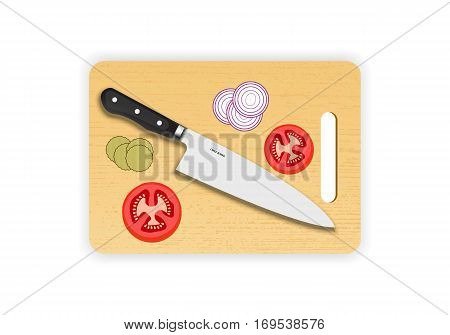 Wooden chopping or cutting board with chef knife on white background. Vector illustration