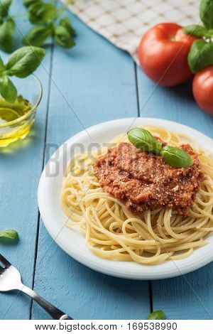 Traditional Italian Spaghetti Bolognese On Wooden Background