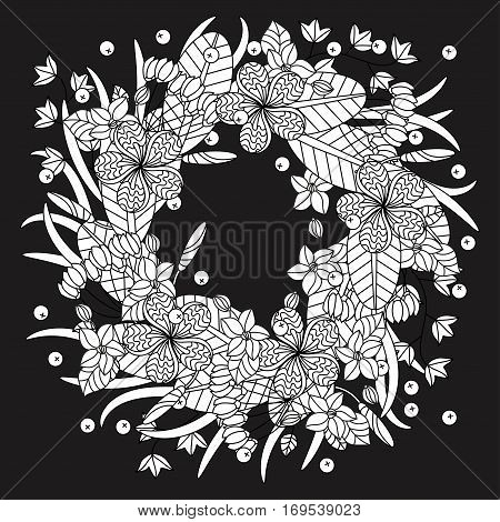 Tropic vector illustration. Wreath of tropical flowers. Adult antistress coloring page with tropical plants and flowers.