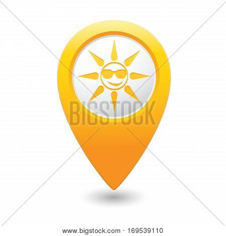 Sun in sung-lasses icon on map pointer, vector illustration
