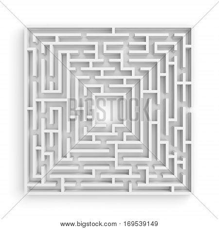 3d rendering of a white square maze on white background in front view. Mazes and labyrinths. Secrets and puzzles. Problems and solutions.