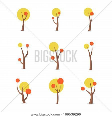 Collection stock of tree set at spring vector
