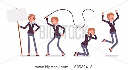 Set of young female manager expressing emotions, lost of emotional regulation, affective riot, crying, jumping with extreme joy, angry and punishing with whip, full length, isolated, white background