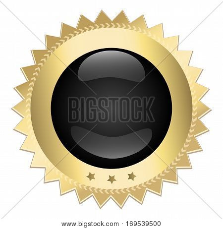 Blank icon or blank seal. Golden, glossy seal with copy space. golden medal or award icon.