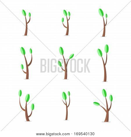 Vector flat of tree set at spring collection stock