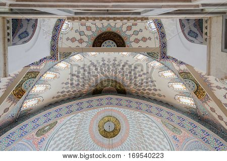 Ankara, Turkey - March 28, 2013: Kocatepe mosque dome details. The Mosque is the largest mosque in Ankara, the capital of Turkey and was built between 1967 and 1987.