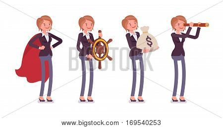 Set of young female manager in the business image of superhero, capitan, holding money sack, watching in spyglass. Metaphor of wealth, leadership, vision, full length, isolated, white background