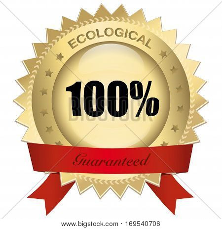 100% ecological guaranteed seal or icon with red banner. Glossy golden seal or button with stars and elegant banner.