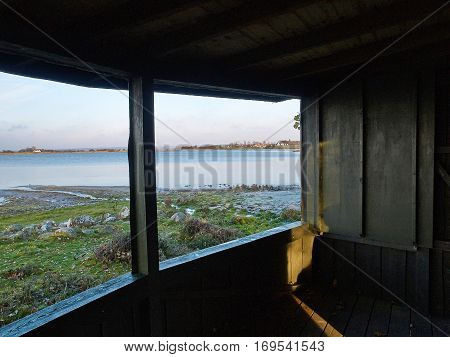 Inside a birding watching birding wildlife observation tower in a nature park