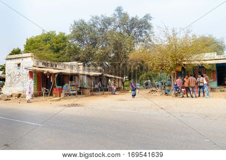 Abhaneri India 21st January 2017 -Village shacks and stalls outside the Harshat Mata temple in Abhaeri Rajasthan India.