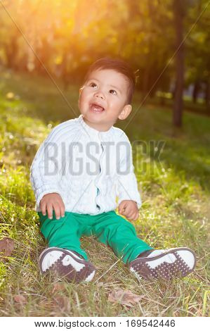 A small asian child plays in the Park sitting on the grass posing smiling