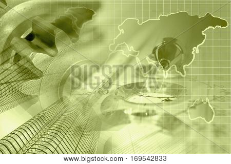 Financial background in sepia with map buildings gears and pen.