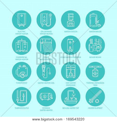 Heater, water boiler, thermostat, electric, gas, solar heaters and other house heating equipment line icons. Thin linear pictogram with editable strokes for hardware store. Household appliances signs.