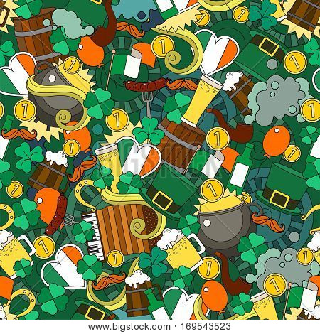 Fun, Bright And Original Saint Patricks Day Greeting Pattern , Made In The Doodle Style. Vector. St