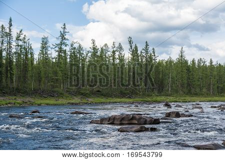 Beautiful rapids on the river. Eastern Siberia. Krasnoyarsk territory