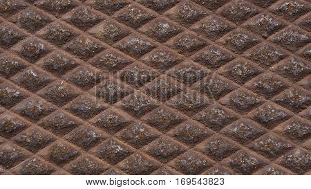 Rusty diamond pattern close up  background industrial look
