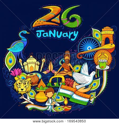 illustration of India background showing its incredible culture and diversity with monument, dance and festival celebration for 26th January Republic Day of India