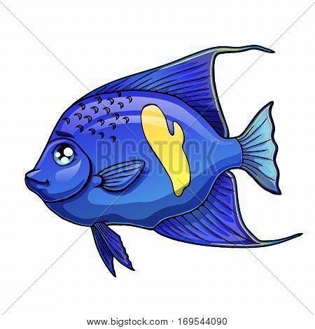 Cute sea aquarium blue arabian angel fish on a white background. Angelfish marine animal. Isolated cartoon vector illustration.