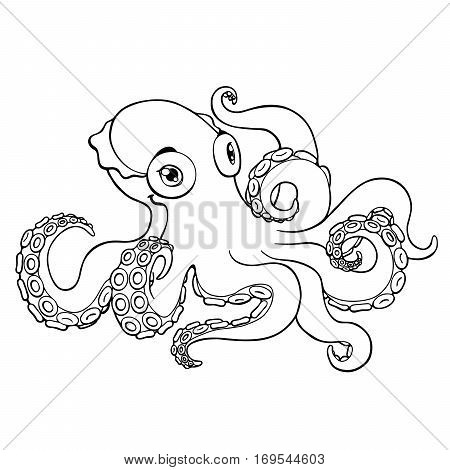Lovely octopus black contour line on a white background isolated. Marine cephalopod animal. Coloring page book. Vector cartoon illustration. Manual sketch.