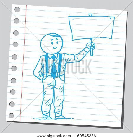 Businessman with suspenders holding billboard