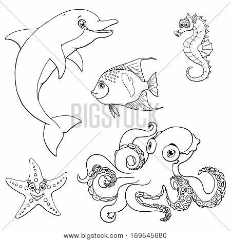 Set cute marine animals black contour line on a white background isolated. Dolphin, octopus, sea horse, star fish and arabian angel. Coloring page book. Vector cartoon illustration. Manual sketch.