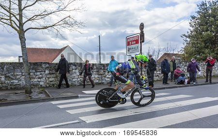 Conflans-Sainte-HonorineFrance-March 62016: The French cyclist Julien Loubet of Fortuneo-Vital Concept Team riding during the prologue stage of Paris-Nice 2016.
