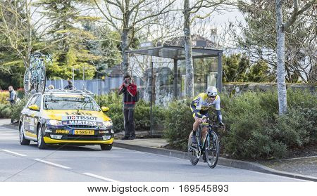 Conflans-Sainte-HonorineFrance-March 62016: The German cyclist Paul Martens of Lotto NL-Jumbo Team riding during the prologue stage of Paris-Nice 2016.