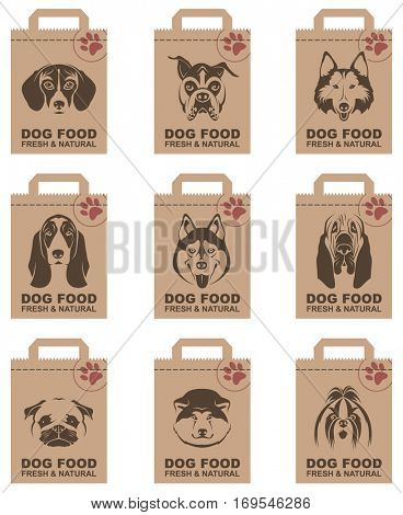 Collection of various food packages with dogs heads. Vector illustration