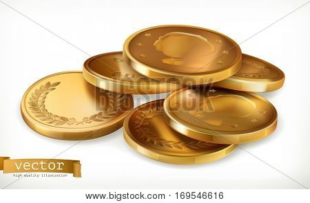 Golden coins. Money 3d vector icon