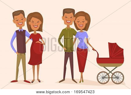 Happy young family couple set isolated vector illustration. Smiling boyfriend and his pregnant girlfriend. Cheerful young wife and husband with baby carriage. Lovely family born, happy young people