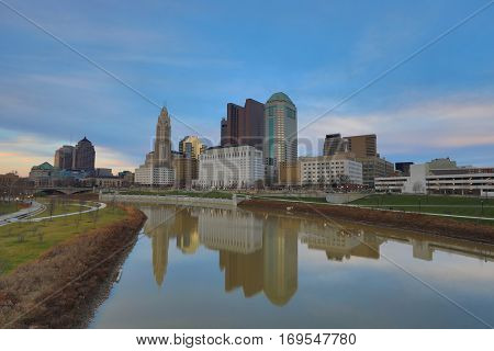 Columbus, Ohio sits along the banks of the Scioto river.