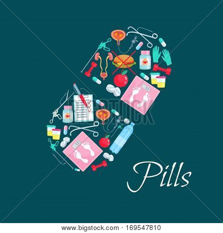 Medicine poster of vector pill symbol and obesity diet healthy dietary medications and sport items of pills, weight scales and fast food cheeseburger, apple fruit and syringe. Bladder organ, surgery and therapy instruments, fitness barbells