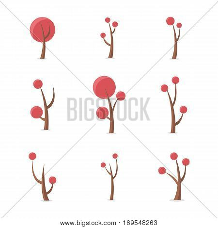 Illustration vector of tree style set collection stock