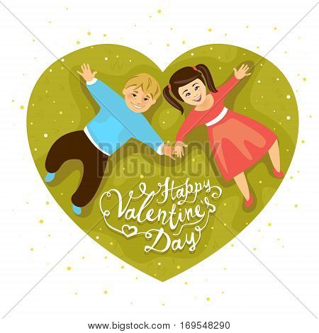 Happy Valentine's Day! Boy and girl on lawn. Vector card