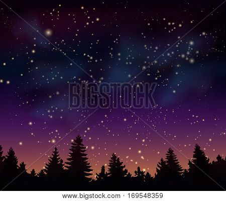 Night forest under mystical space universe background vector illustration. Night sky with nebula, stardust, bright shining stars. Cosmic galaxy backdrop, mystical space universe, night forest template