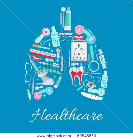 Healthcare vector poster of dentistry and ophthalmology medical items in form of lungs. Dentist mirror, tooth paste and braces, eye drops, glasses lenses and ophthalmologist examination test, scalpel and syringe