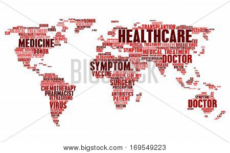 Medical and health cloud tags words in world map. Word cloudtags concept of healthcare, doctor treatment, patient disease symptom diagnosis, surgery transplantation, x-ray radiogram and virus flu antibiotics vaccine, ultrasound and drug prescription
