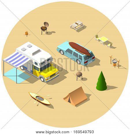 Isometric camping vector illustration set. flat 3d design.